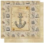Papel Scrapbook Litoarte 30,5x30,5 SD-590 Vintage Nautical Life