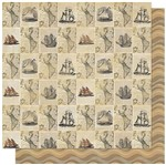 Papel Scrapbook Litoarte 30,5x30,5 SD-591 Jornal Nautical