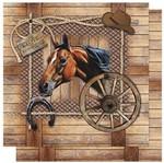 Papel Scrapbook Litoarte 30,5x30,5 SD-594 Cavalo com Ripado de Madeira