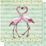 Papel Scrapbook Litoarte 30,5x30,5 SD-710 Flamingos com Listras e Poá Verde