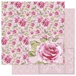 Papel Scrapbook Litoarte 30,5x30,5 SD-759 Estampa Rosas Vintage