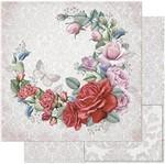 Papel Scrapbook Litoarte 30,5x30,5 SD-762 Guirlanda de Rosas