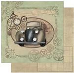 Papel Scrapbook Litoarte 30,5x30,5 SD-782 Carro Antigo e Engrenagens