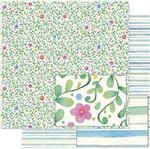 Papel Scrapbook Litoarte 30,5x30,5 SD-729 Folhas e Flores Aquarelas