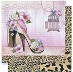 Papel Scrapbook Litoarte 30,5x30,5 SD-379 Sapato e Pele de Onça