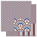 Papel Scrapbook Litoarte 30,5x30,5 SD-830 Padrão de Ondas Vermelhas e Azul