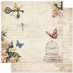 Papel Scrapbook Litoarte 30,5x30,5 SD-867 Flores e Borboleta com Gaiola