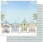 Papel Scrapbook Litoarte 30,5x30,5 SD-878 Praia Casinhas