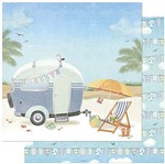 Papel Scrapbook Litoarte 30,5x30,5 SD-880 Praia e Trailer