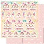 Papel Scrapbook Litoarte 30,5x30,5 SD-920 Carrossel Cavalinhos e Balões