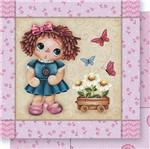 Papel Scrapbook Litoarte 30,5x30,5 SD-391 Boneca e Flores Rosa