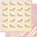 Papel Scrapbook Litoarte 30,5x30,5 SD-921 Cavalinhos Infantis