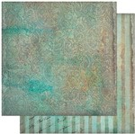 Papel Scrapbook Litoarte 30,5x30,5 SD-943 Arabescos Verde Vintage