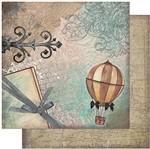 Papel Scrapbook Litoarte 30,5x30,5 SD-940 Balão e Arabescos