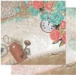 Papel Scrapbook Litoarte 30,5x30,5 SD-944 Rosas Azuis e Rosa, Relógio