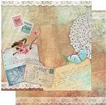 Papel Scrapbook Litoarte 30,5x30,5 SD-945 Pássaro, Postais e Renda
