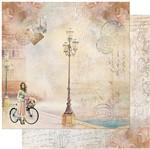 Papel Scrapbook Litoarte 30,5x30,5 SD-946 Jovem, Bicicleta e Poste