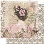 Papel Scrapbook Litoarte 30,5x30,5 SD-947 Mulher com Flores na Cabeça