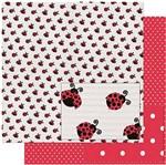 Papel Scrapbook Litoarte 30,5x30,5 SD-935 Estampa de Joaninhas