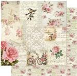 Papel Scrapbook Litoarte 30,5x30,5 SD-956 Rosas, Pássaro e Bicicleta