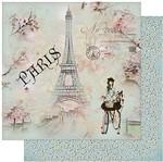 Papel Scrapbook Litoarte 30,5x30,5 SD-958 Jovem na Bicicleta e Torre Eiffel