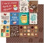 Papel Scrapbook Litoarte 30,5x30,5 SD-926 Tags e Frases de Café