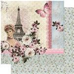 Papel Scrapbook Litoarte 30,5x30,5 SD-967 Torre Eiffel, Dama e Flores