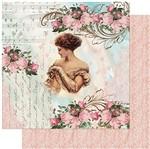 Papel Scrapbook Litoarte 30,5x30,5 SD-968 Dama, Rosas e Arabescos