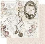 Papel Scrapbook Litoarte 30,5x30,5 SD-972 Dama na Moldura e Cartas Vintage
