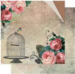 Papel Scrapbook Litoarte 30,5x30,5 SD-937 Rosas Vintage Gaiola e Pássaro