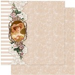 Papel Scrapbook Litoarte 30,5x30,5 SD-970 Moldura com Dama, Renda e Listras