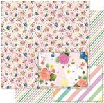 Papel Scrapbook Litoarte 30,5x30,5 SD-974 Padrão Flores Coloridas e Estrelas
