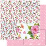 Papel Scrapbook Litoarte 30,5x30,5 SD-976 Padrão Flores Rosas e Borboletas