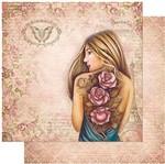 Papel Scrapbook Litoarte 30,5x30,5 SD-977 Mulheres Rosas Tatuadas