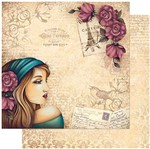 Papel Scrapbook Litoarte 30,5x30,5 SD-983 Mulher com Rosas no Cabelo