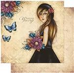 Papel Scrapbook Litoarte 30,5x30,5 SD-981 Mulher com Flores Coloridas