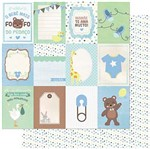 Papel Scrapbook Litoarte 30,5x30,5 SD-985 Tags Bebê Masculino Verso Poá