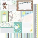 Papel Scrapbook Litoarte 30,5x30,5 SD-986 Tags Bebê Masculino Verso Listras