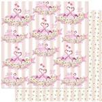 Papel Scrapbook Litoarte 30,5x30,5 SD-995 Flamingos Flores Fundos Listras