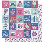 Papel Scrapbook Litoarte 30,5x30,5 SD-997 Amor Je T' Aime Estampa Flores