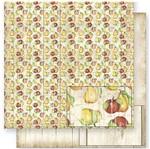 Papel Scrapbook Litoarte 30,5x30,5 SD1-022 Frutas e Madeira