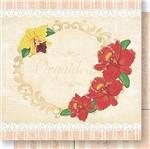 Papel Scrapbook Litoarte 30,5x30,5 SD1-046 Orquídeas