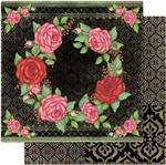 Papel Scrapbook Litoarte 30,5x30,5 SD1-075 Rosas Fundo Preto