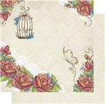 Papel Scrapbook Litoarte 30,5x30,5 SD1-076 Rosas Fundo Branco