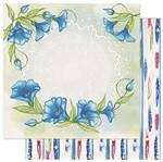 Papel Scrapbook Litoarte 30,5x30,5 SD1-077 Flores Azuis