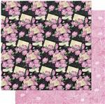 Papel Scrapbook Litoarte 30,5x30,5 SD1-085 Padrão Margaridas Rosas