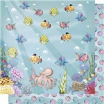 Papel Scrapbook Litoarte Sd-615 Dupla Face 30,5x30,5cm Peixinhos Fundo do Mar