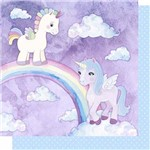 Papel Scrapbook Litoarte Sd-624 Dupla Face 30,5x30,5cm Unicórnios Arco-íris e Poá Azul
