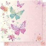 Papel Scrapbook Litoarte Sd-644 Dupla Face 30,5x30,5cm Borboletas e Arabesco Rosa
