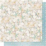 Papel Scrapbook Litoarte Sd-651 Dupla Face 30,5x30,5cm Conchas e Estrelas do Mar